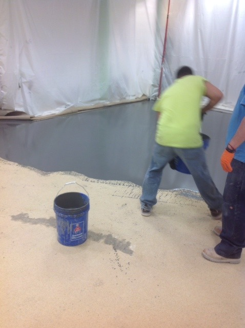 pouring concrete stain