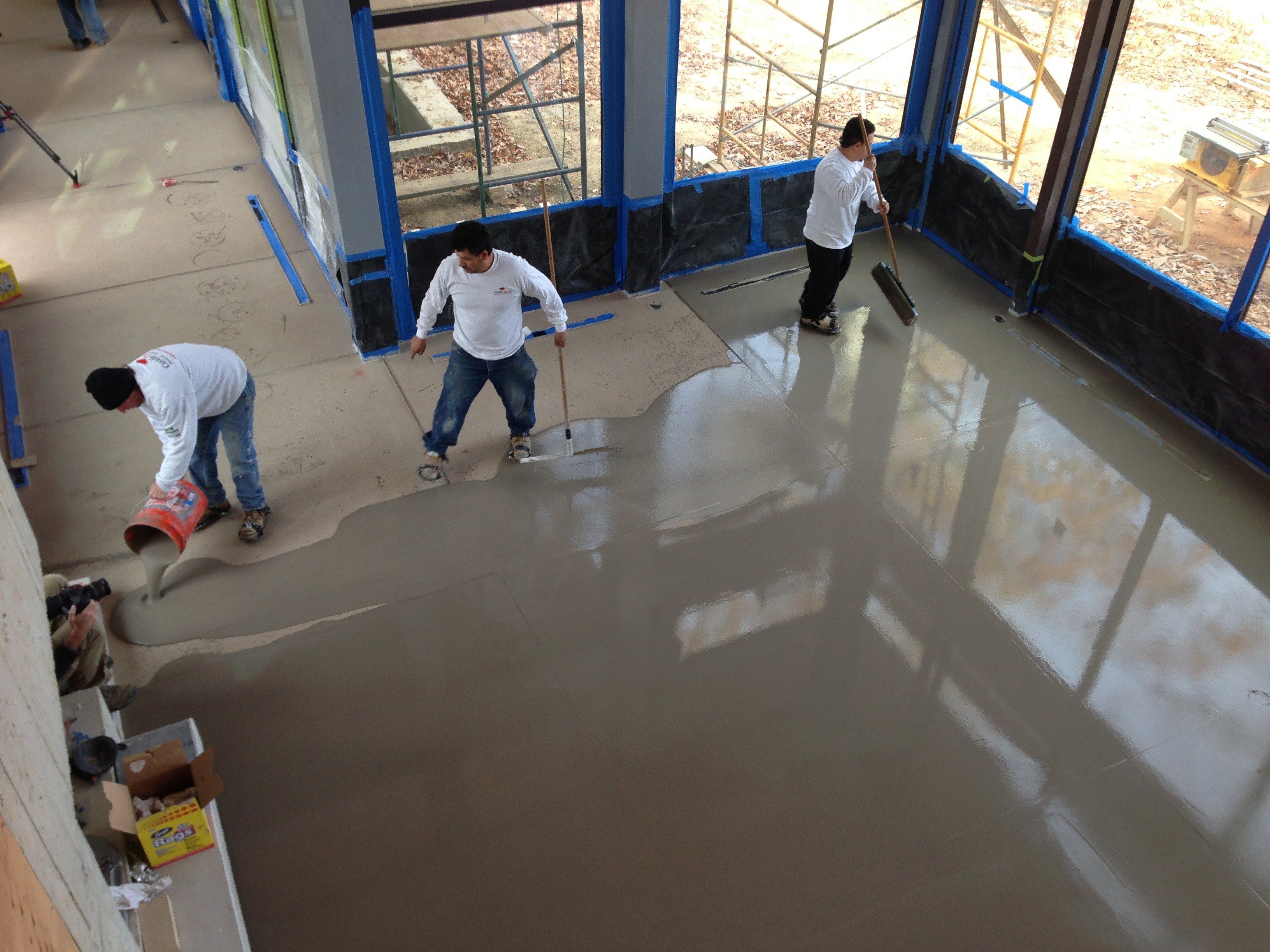 Pouring Out the Concrete Overlay