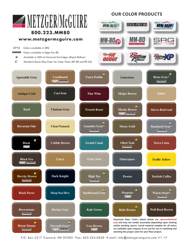 Metzger McGuire Color Chart
