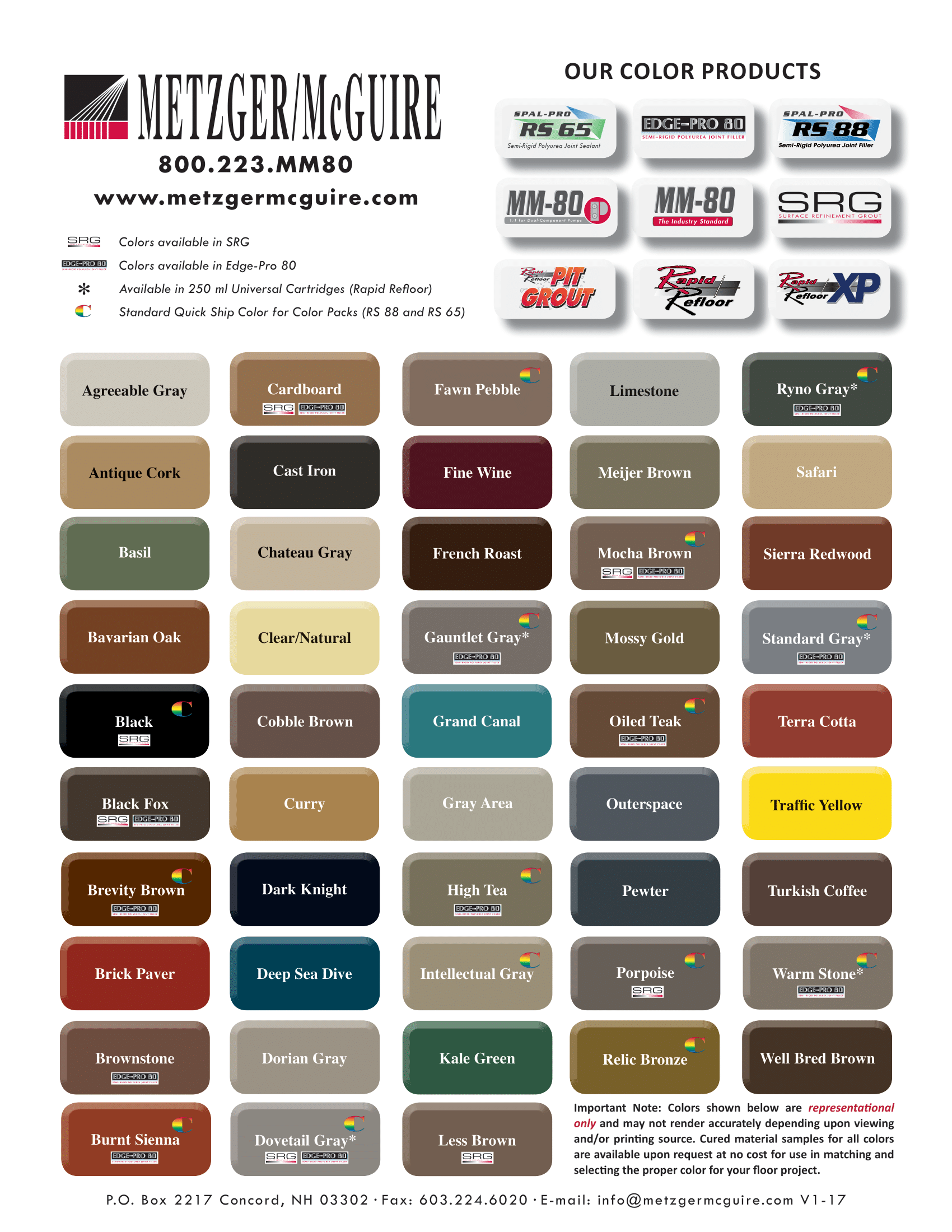 Metzger McGuire Color Chart